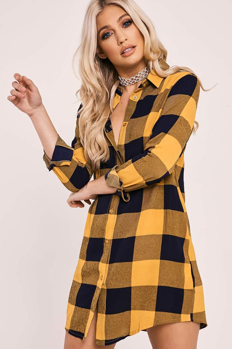 ELEANA MUSTARD CHECKED SHIRT DRESS
