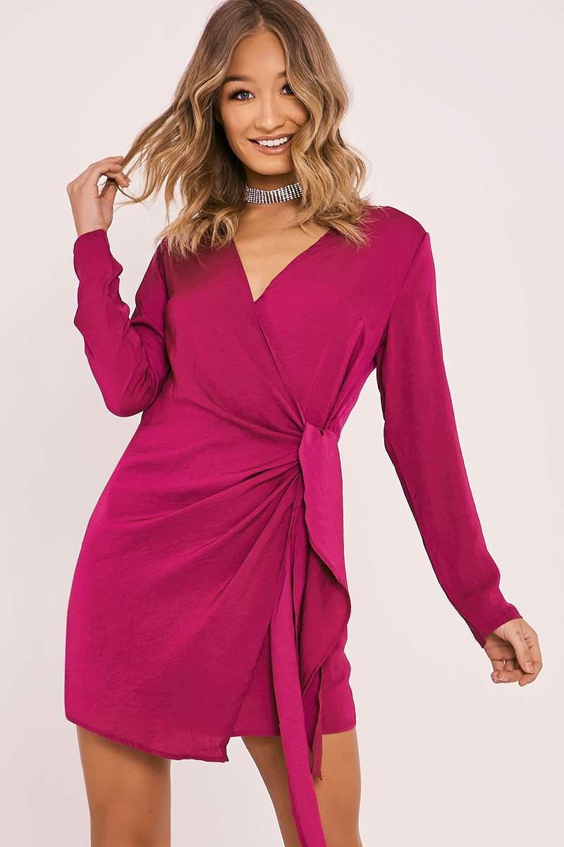 fuchsia silky wrap shirt dress