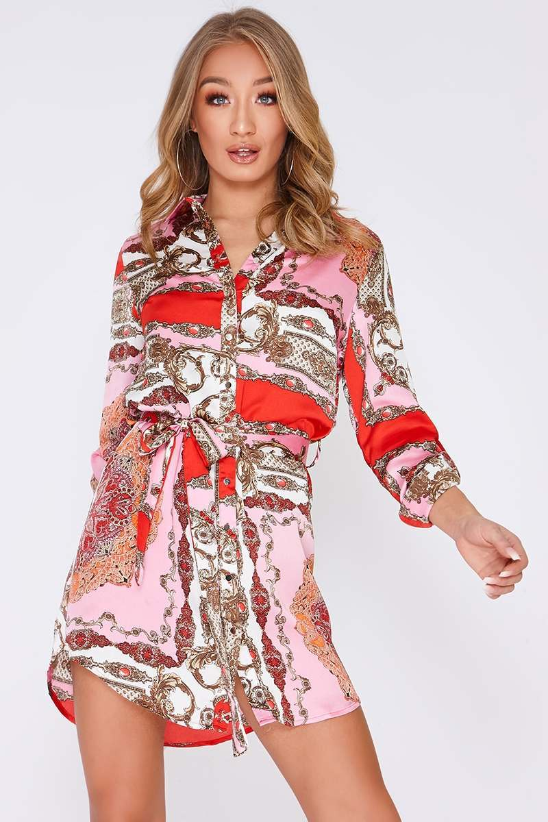 pink satin scarf print shirt dress