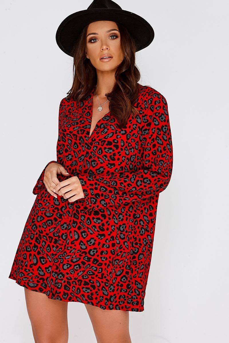 red leopard print plunge shirt dress