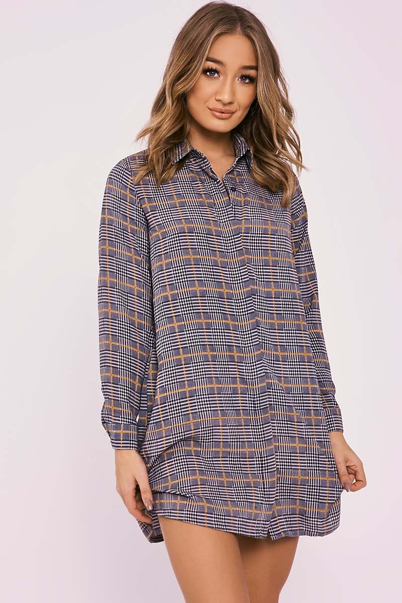 DELSIA YELLOW CHECKED SWING SHIRT DRESS