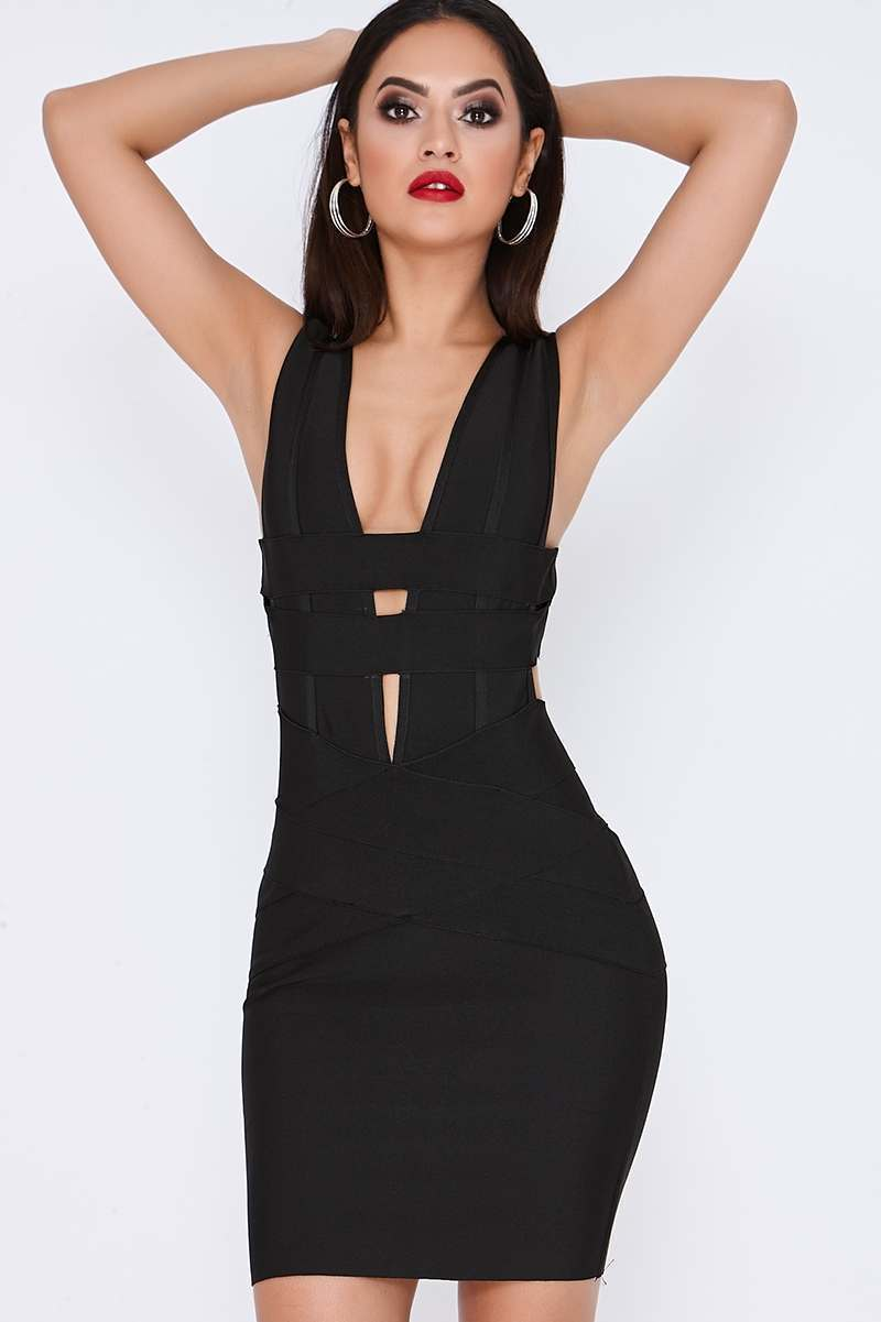 black sleeveless mini bandage dress
