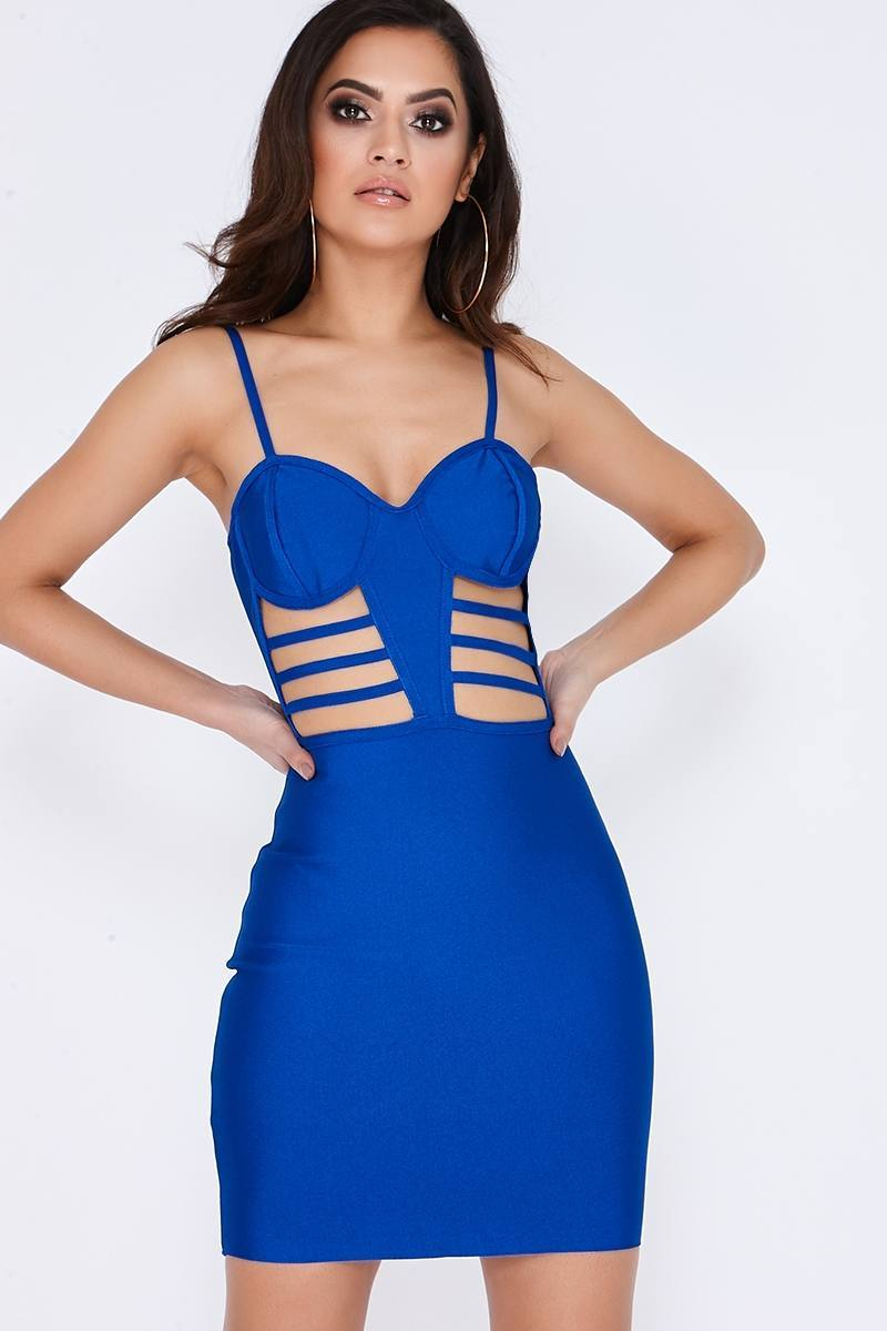 cobalt cut out strappy bandage dress