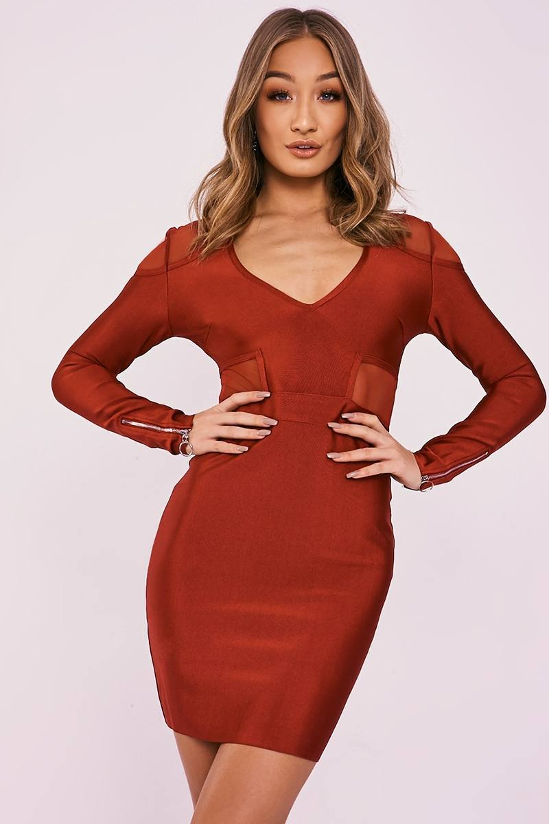 DYNA WINE MESH INSERT PLUNGE BANDAGE DRESS