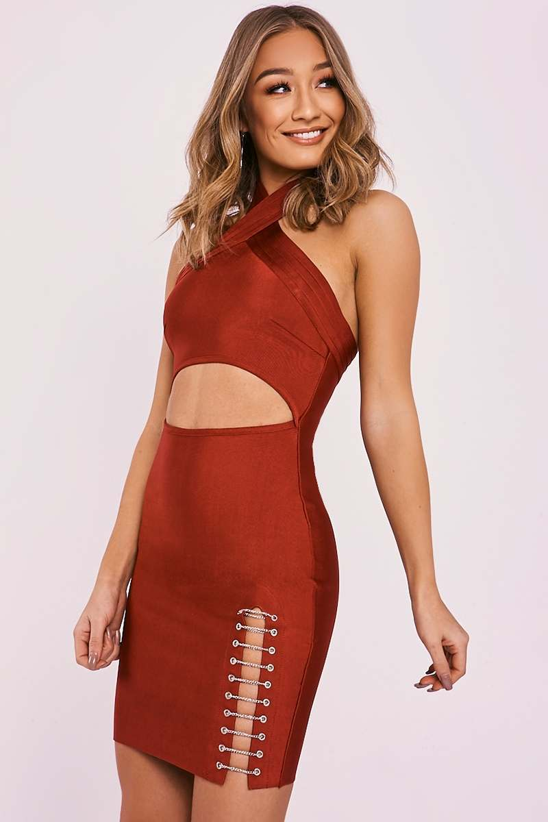 wine chain split bandage dress
