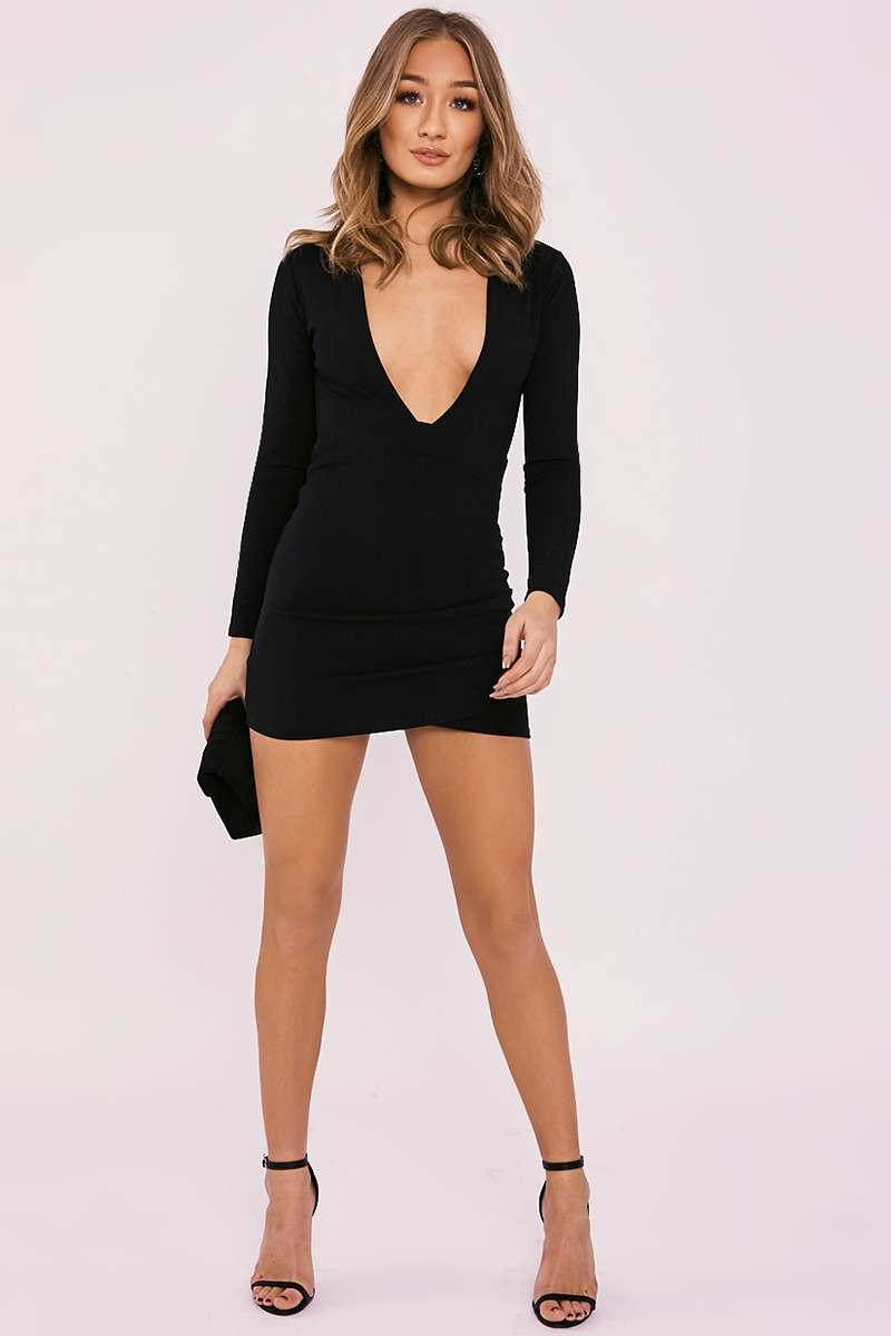 Betsey Black Plunge Backless Long Sleeve Dress | In The
