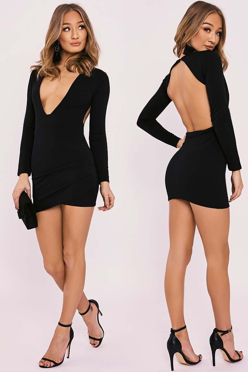 black plunge backless long sleeve dress