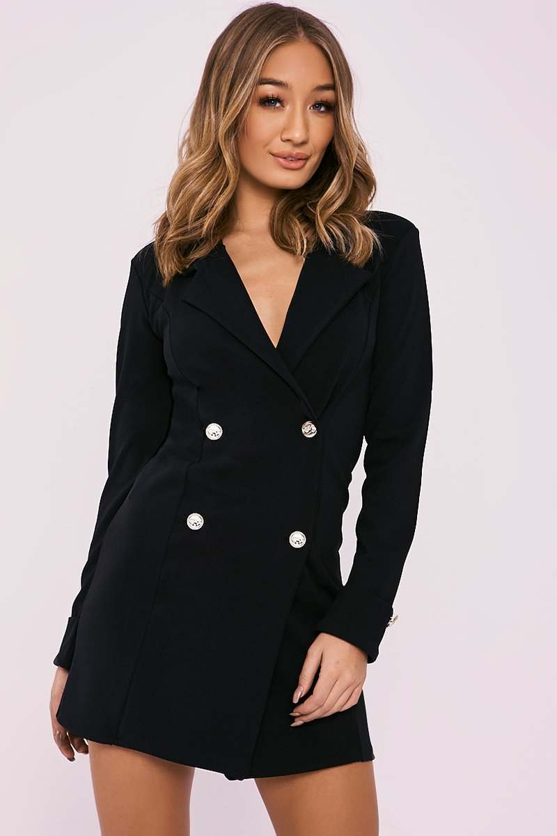 CARLEIGH BLACK GOLD BUTTON BLAZER DRESS