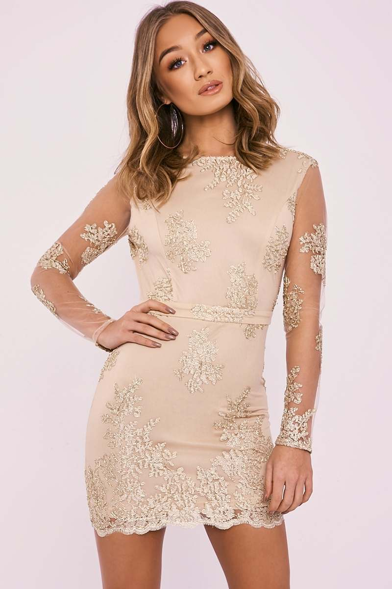 AMITY NUDE METALLIC LACE BACKLESS LONG SLEEVE DRESS