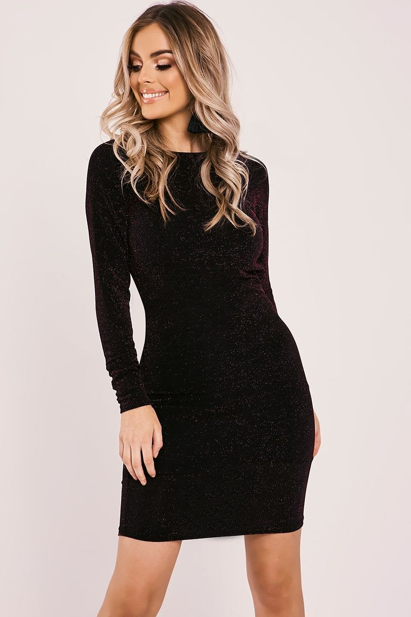 purple lurex drape back long sleeve dress