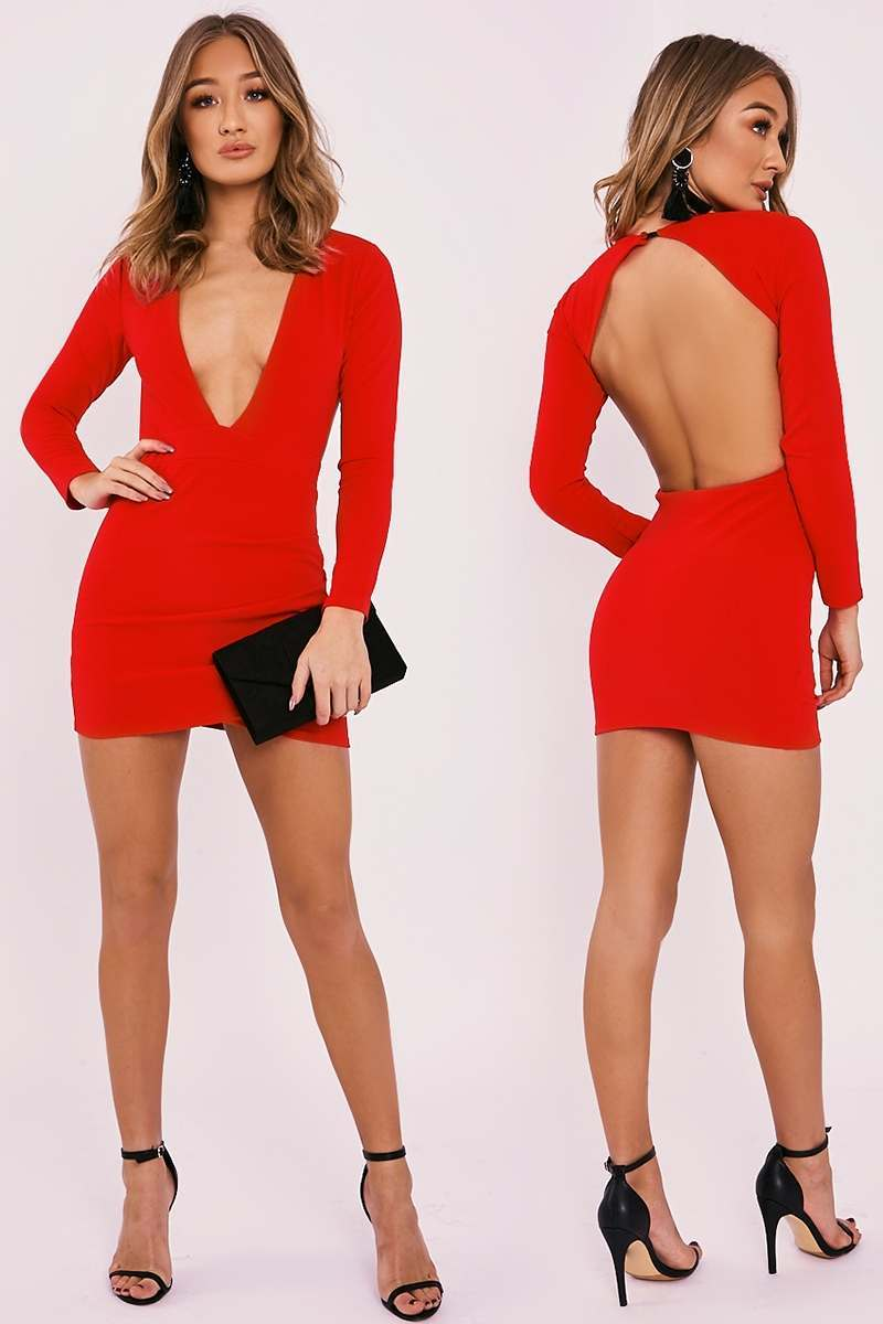 red plunge backless long sleeve dress