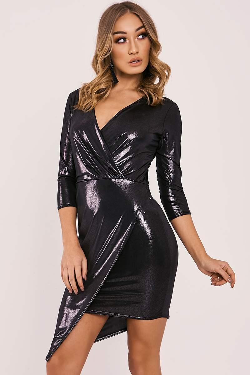 black metallic asymmetric wrap dress