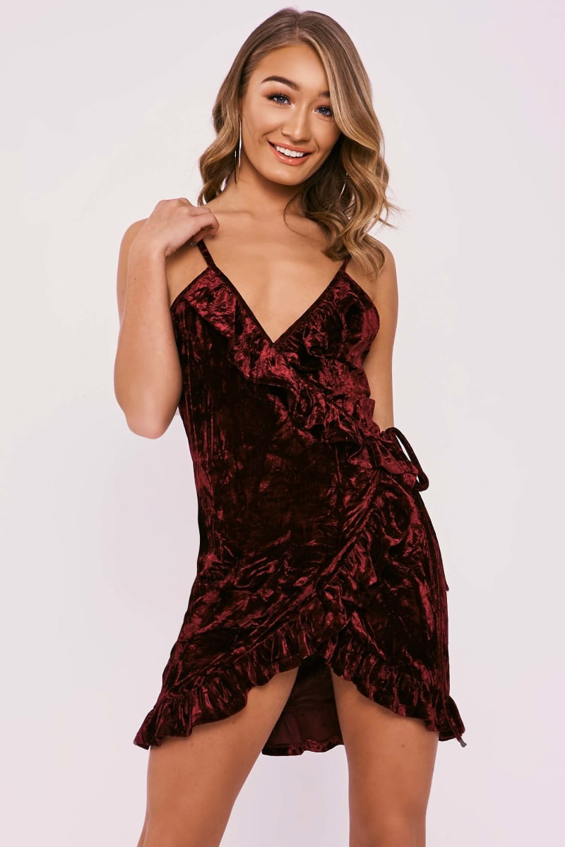 CAMILE BURGUNDY CRUSHED VELVET WRAP OVER MINI DRESS