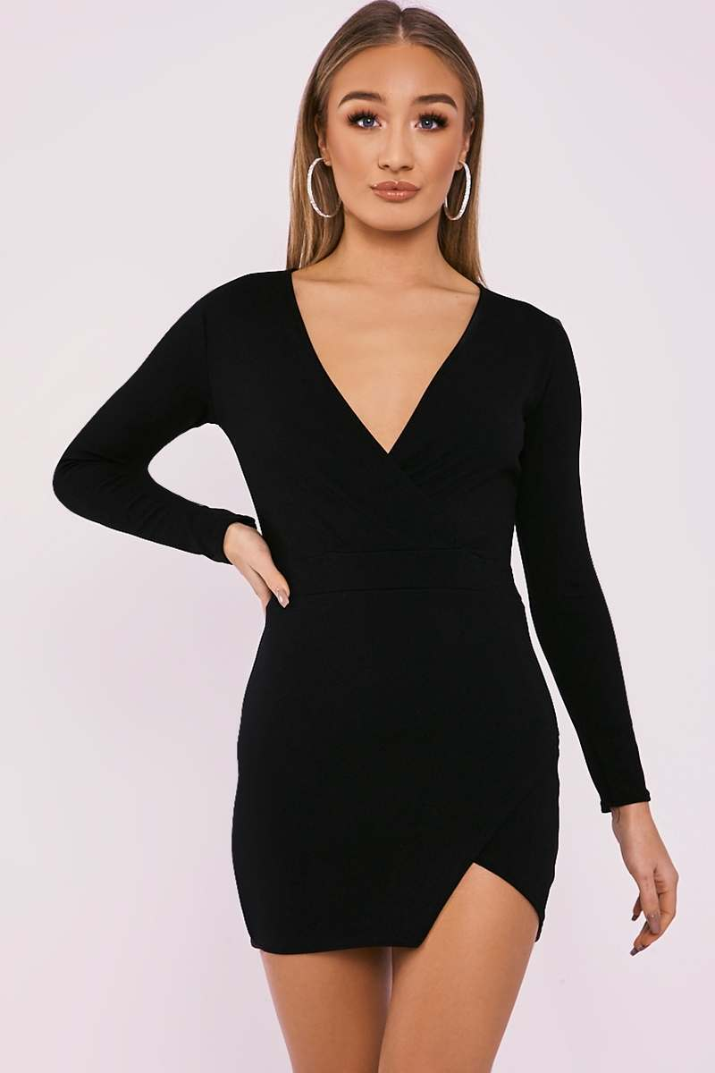 black long sleeve plunge wrap dress