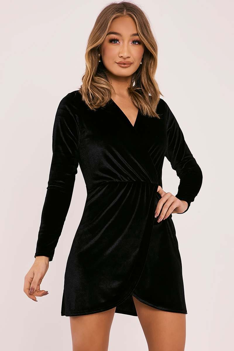 DYANN BLACK VELVET LONG SLEEVE WRAP DRESS