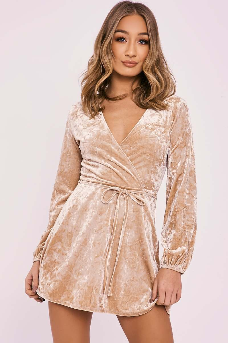 DAMITA GOLD CRUSHED VELVET WRAP DRESS