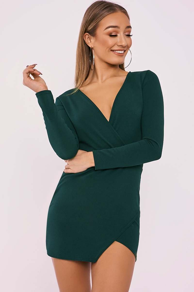 FLYNN GREEN LONG SLEEVE PLUNGE WRAP DRESS