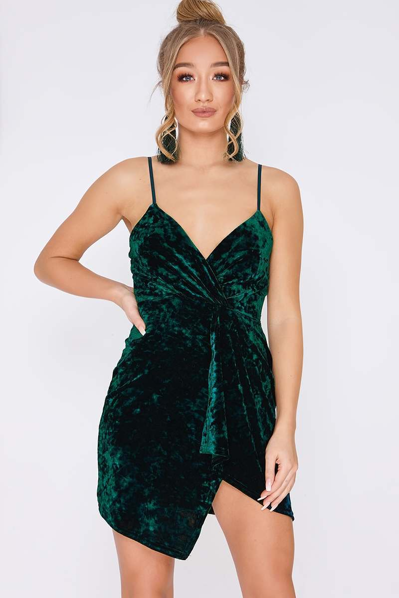 green crushed velvet plunge wrap over mini dress