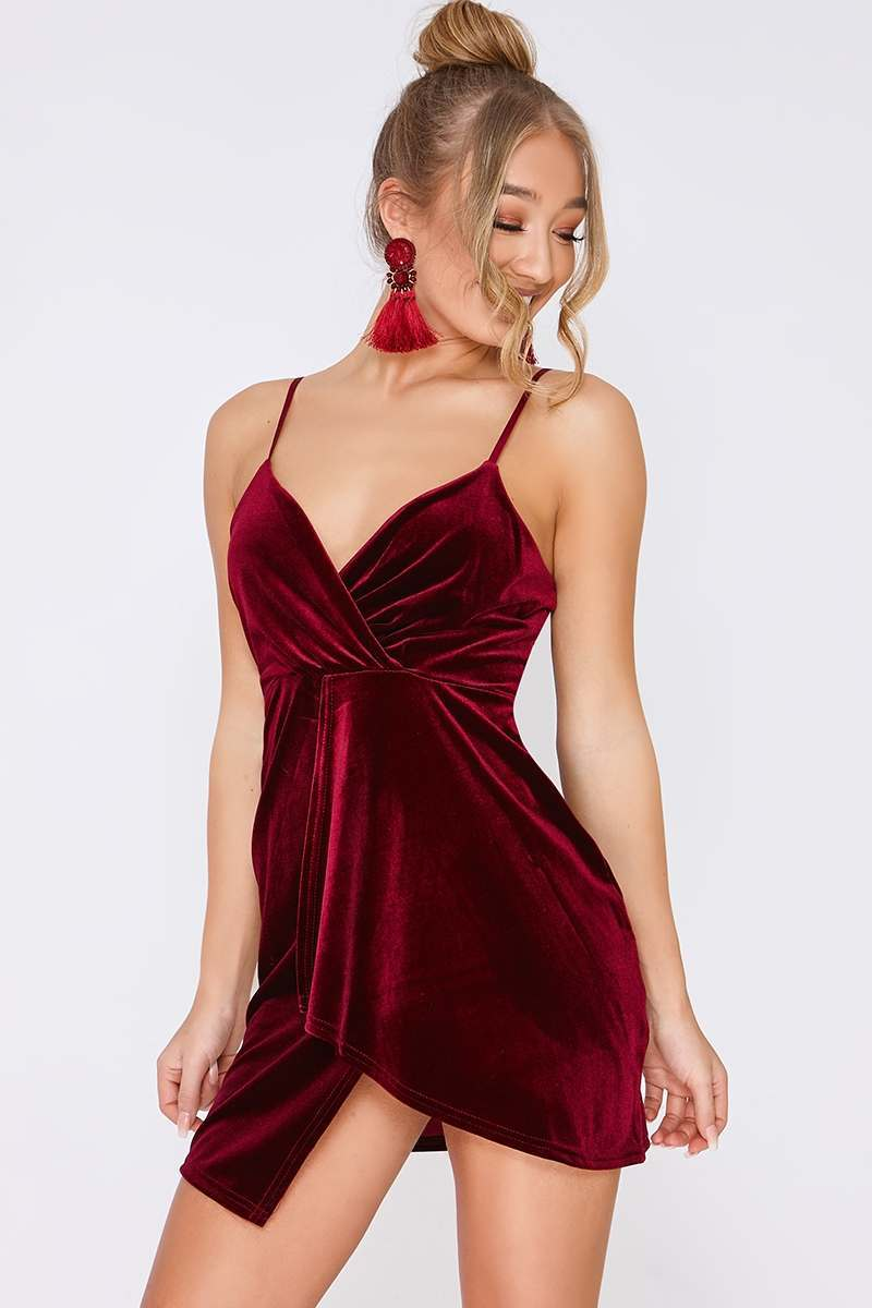 wine velvet plunge wrap over mini dress
