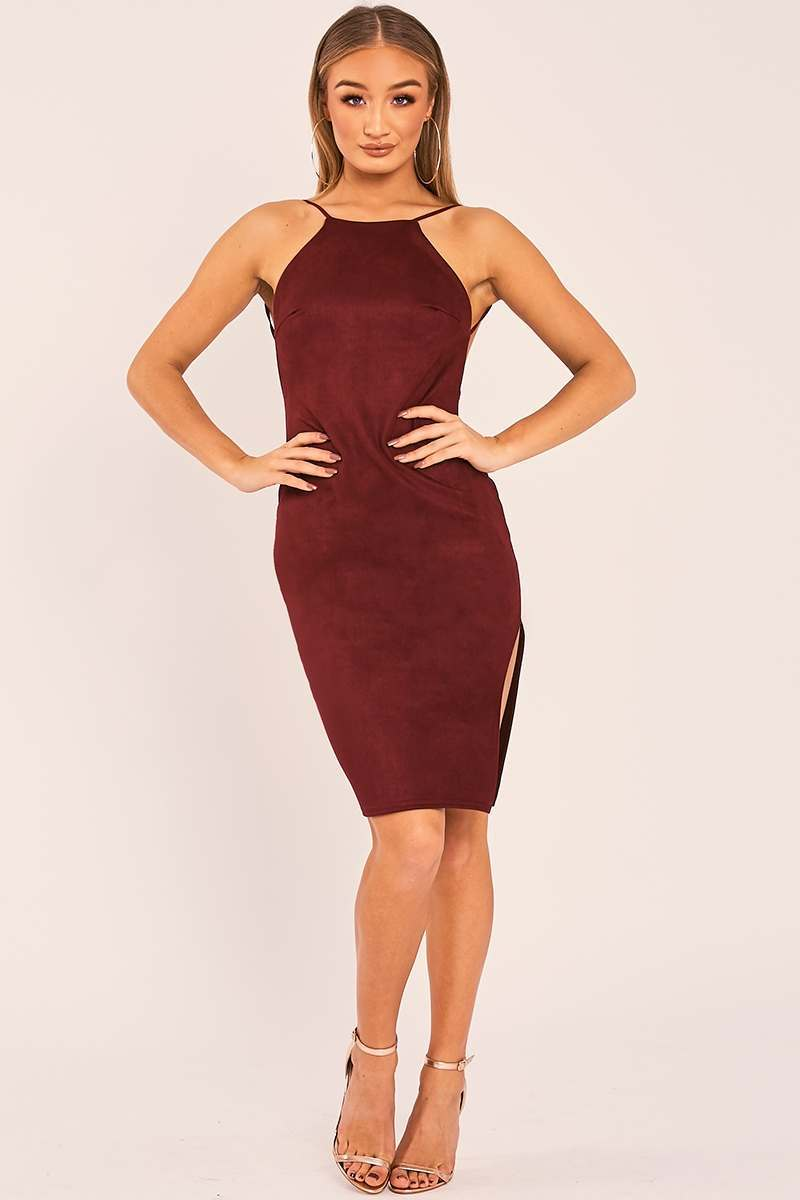 CHARLISA BURGUNDY FAUX SUEDE BACKLESS MIDI DRESS