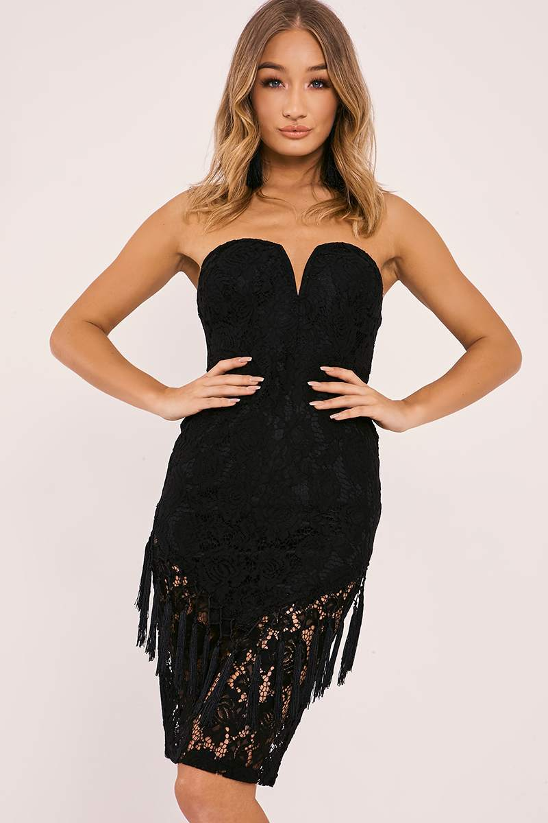 ABELIA BLACK LACE PLUNGE BANDEAU MIDI DRESS