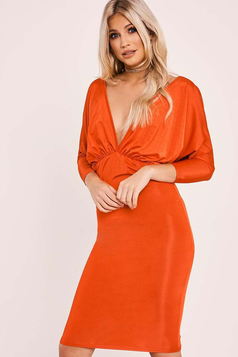 red drape plunge midi dress