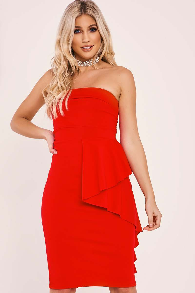 FLORIA RED FRILL WAIST BANDEAU MIDI DRESS