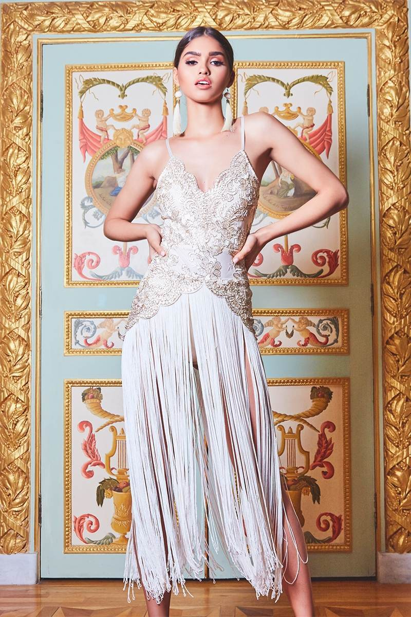 PREMIUM CREAM SCALLOP EDGE METALLIC LACE EXTREME TASSEL DRESS