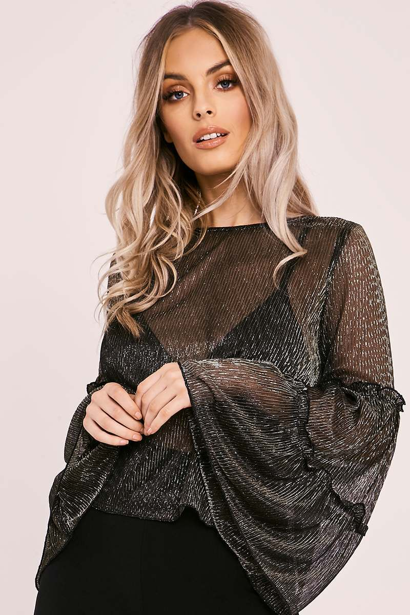 LENEA BLACK LUREX FRILL SLEEVE TOP