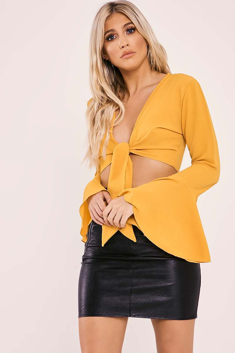 LIBI MUSTARD BELL SLEEVE TIE FRONT BLOUSE