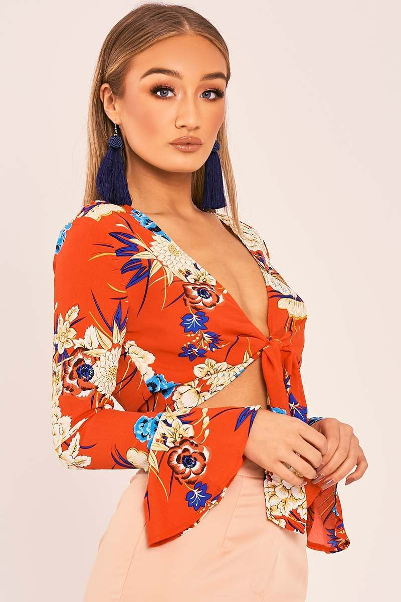 red floral wrap front shirt