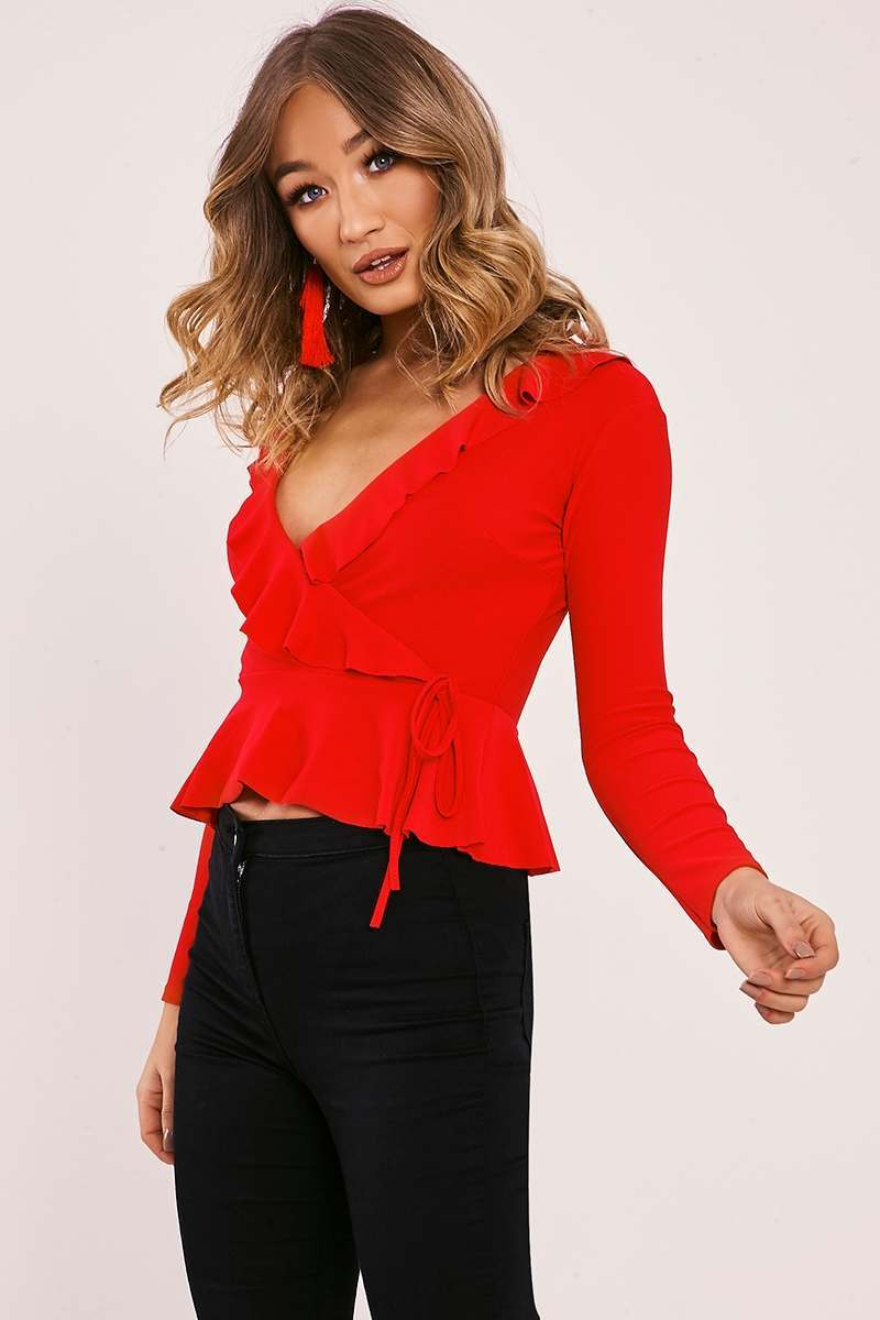 LEINA RED WRAP FRILL LONG SLEEVE TOP