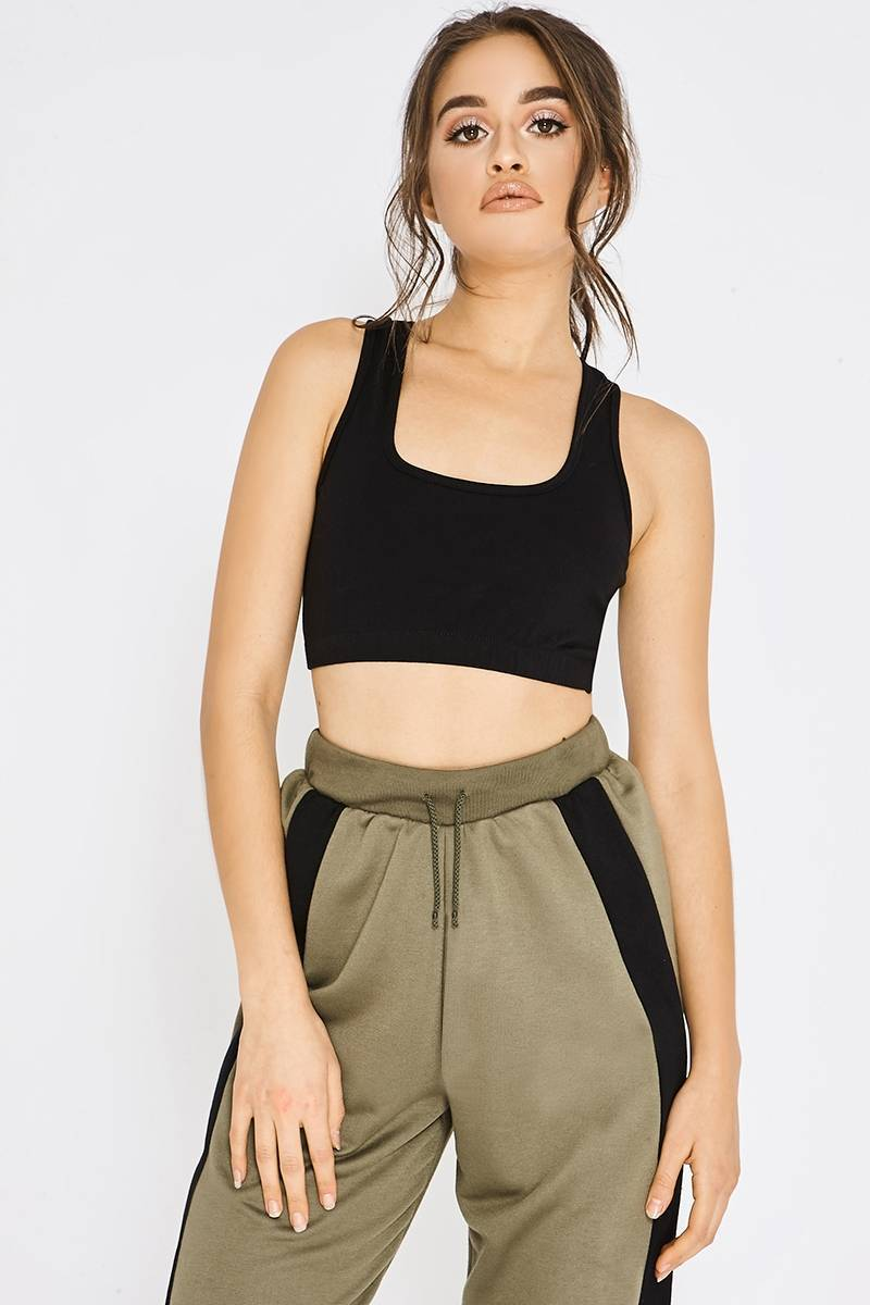 basic black racer back sports crop top
