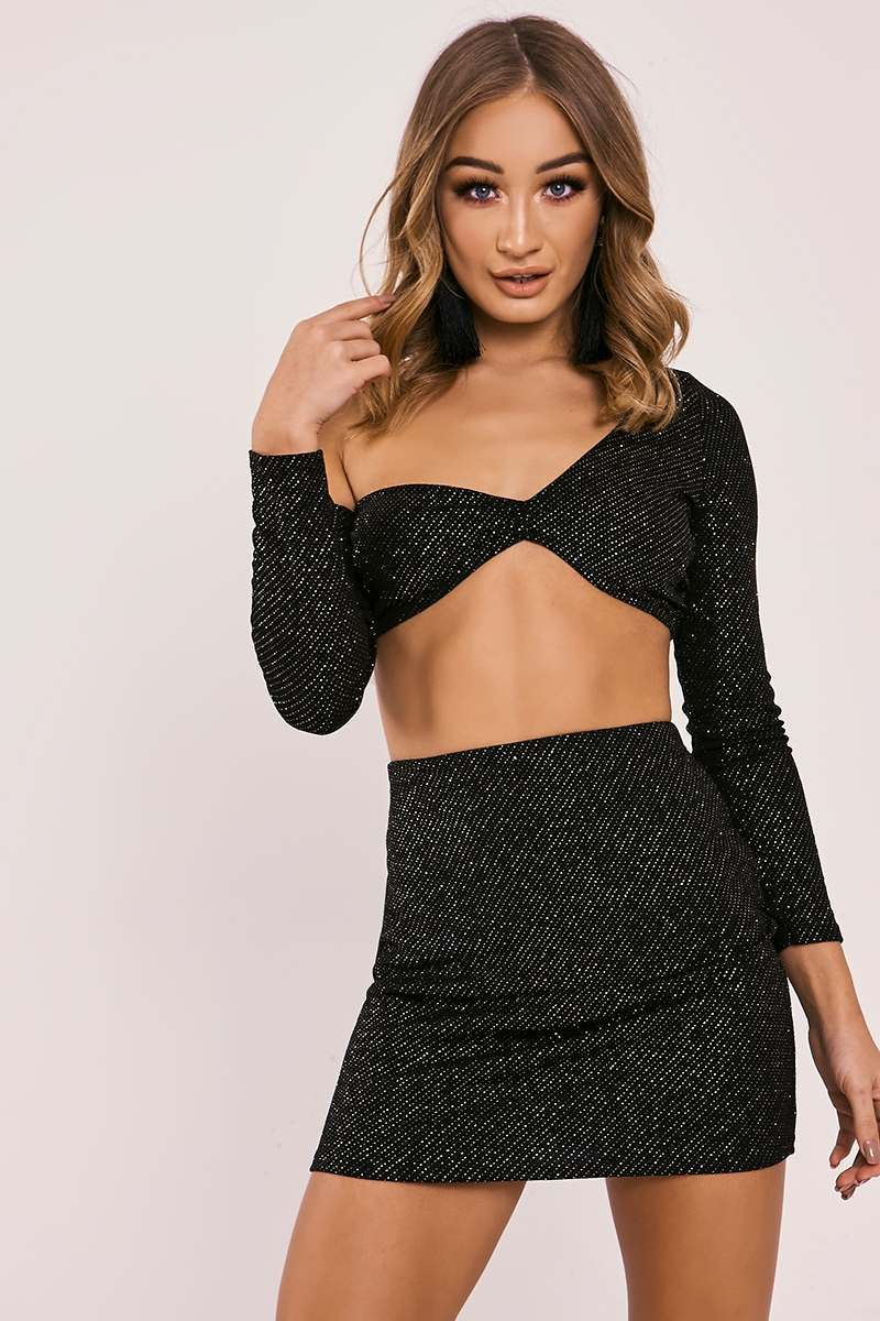 black lurex crop top
