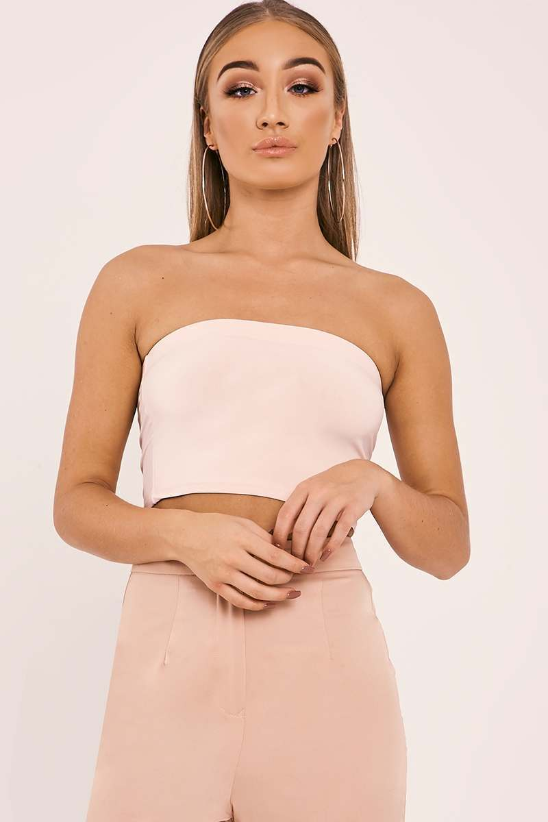 BASIC SLINKY BANDEAU NUDE CROP TOP