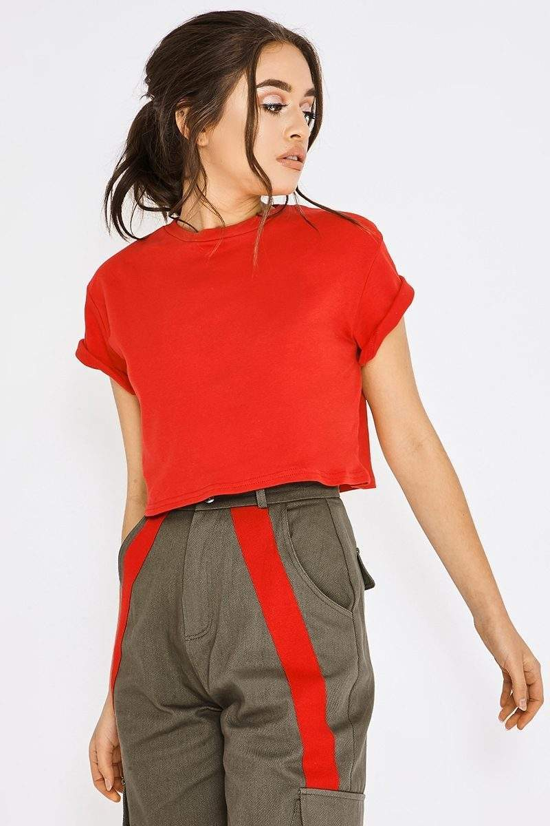 bright red basic crop tshirt