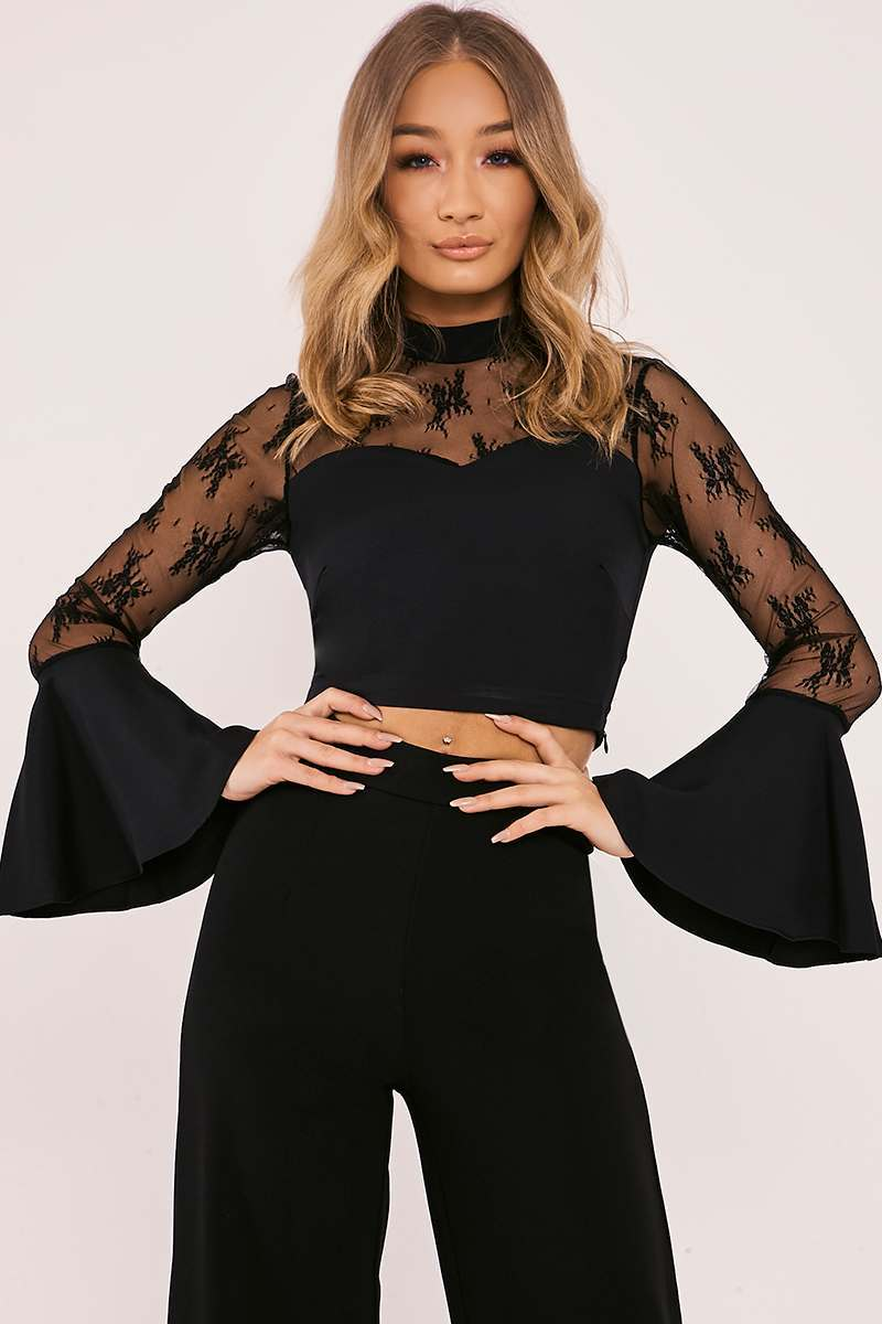black lace frill sleeve crop top