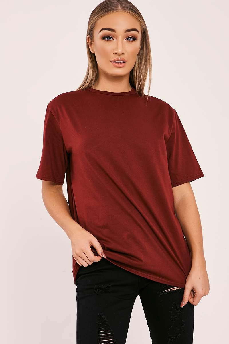 BASIC LONGLINE BURGUNDY T SHIRT