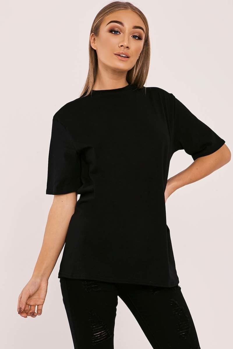 BASIC LONGLINE BLACK T SHIRT