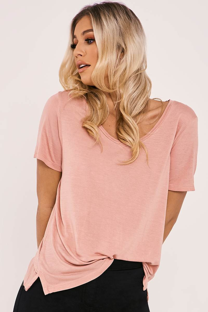 BASIC LONGLINE V NECK NUDE T SHIRT