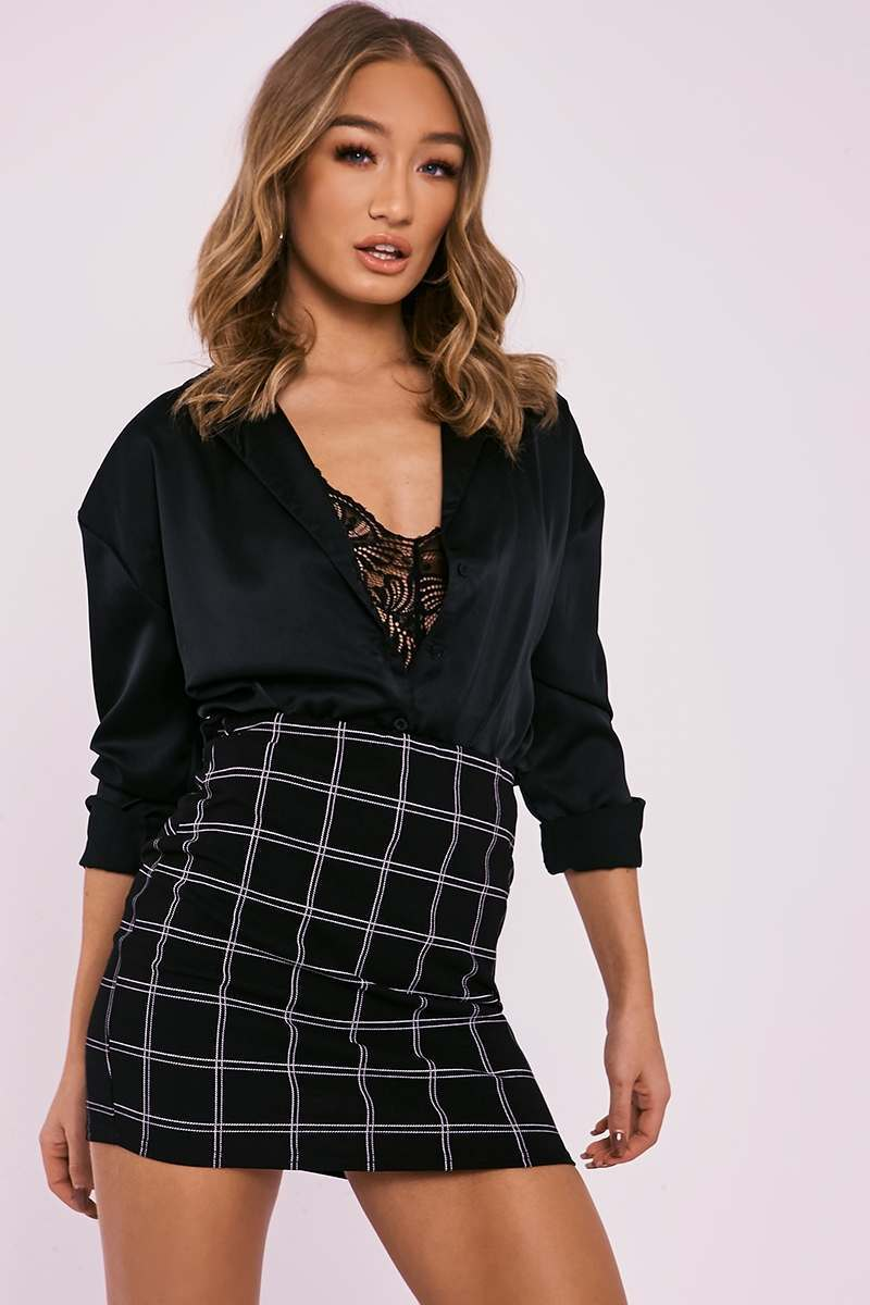 black check skirt