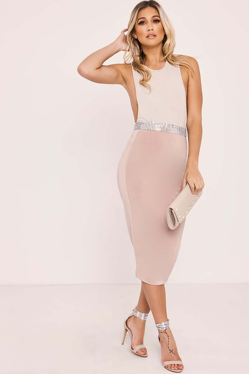 KAIRA NUDE DOUBLE LAYER SLINKY MIDI SKIRT