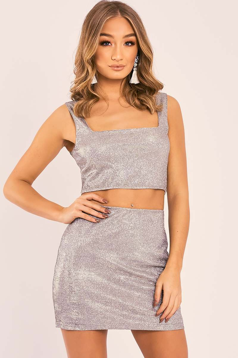 metallic silver mini skirt