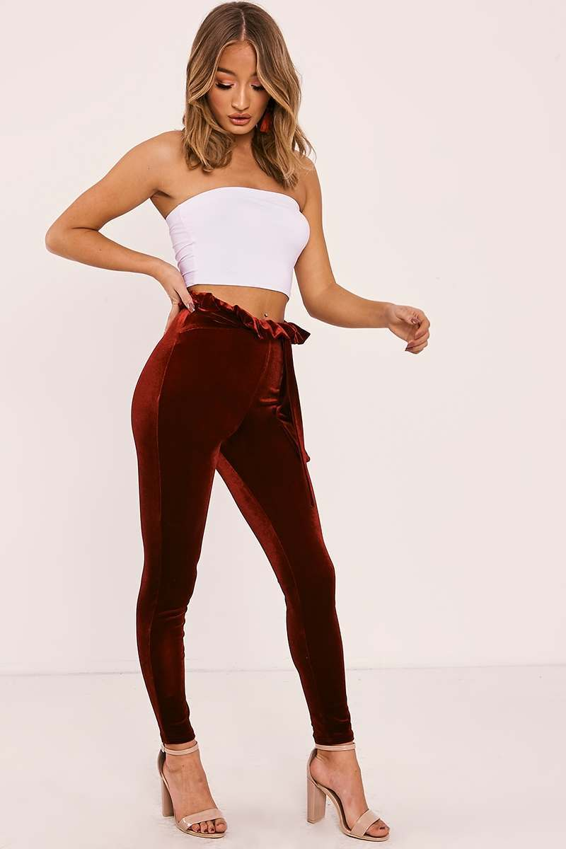 burgundy velvet paperbag trousers