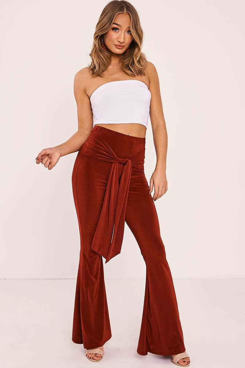 MADDALIN BURGUNDY SLINKY TIE FRONT FLARED TROUSERS