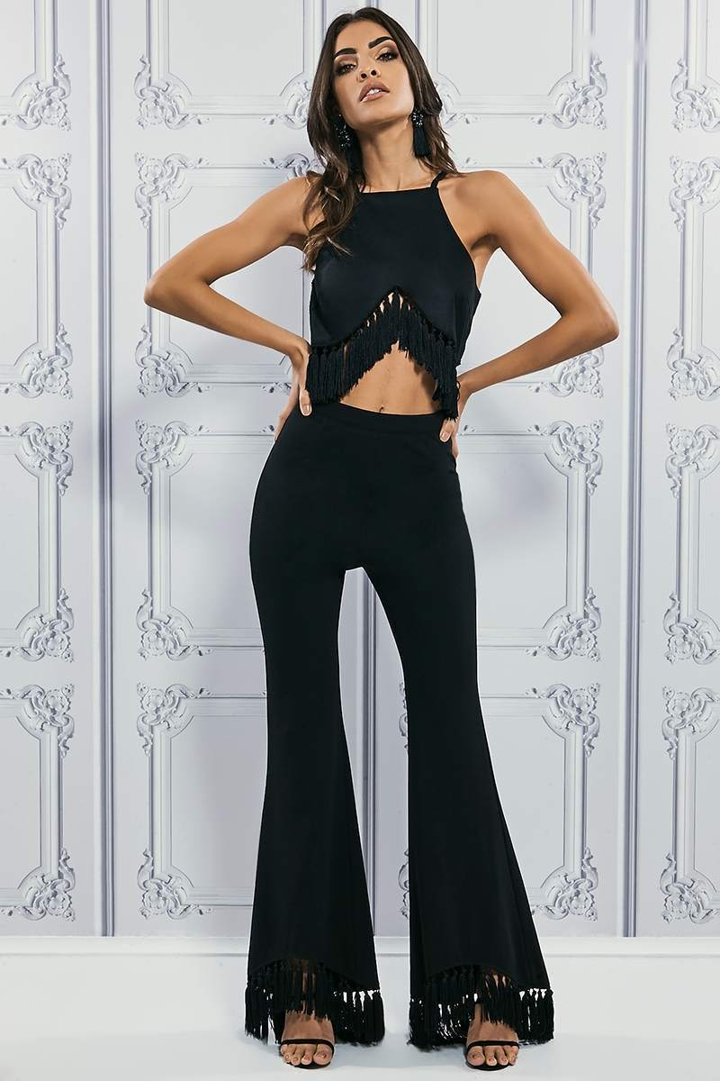 PREMIUM BLACK TASSEL HEM CROPPED FLARED TROUSERS