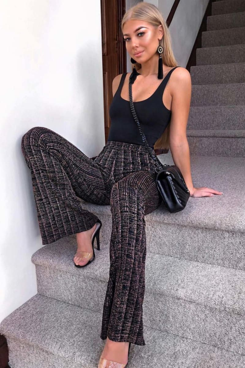 black lurex stripe flared trousers