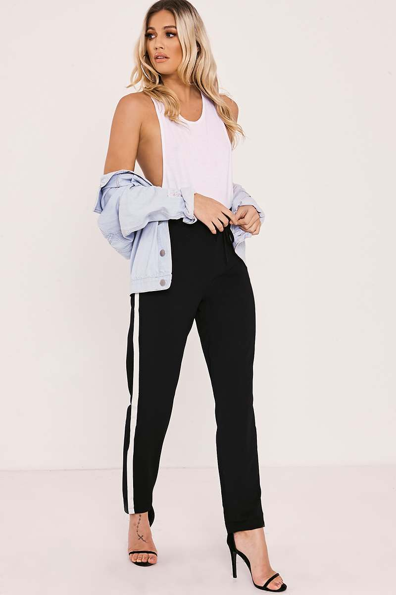 HELLEN BLACK SIDE STRIPE TROUSER