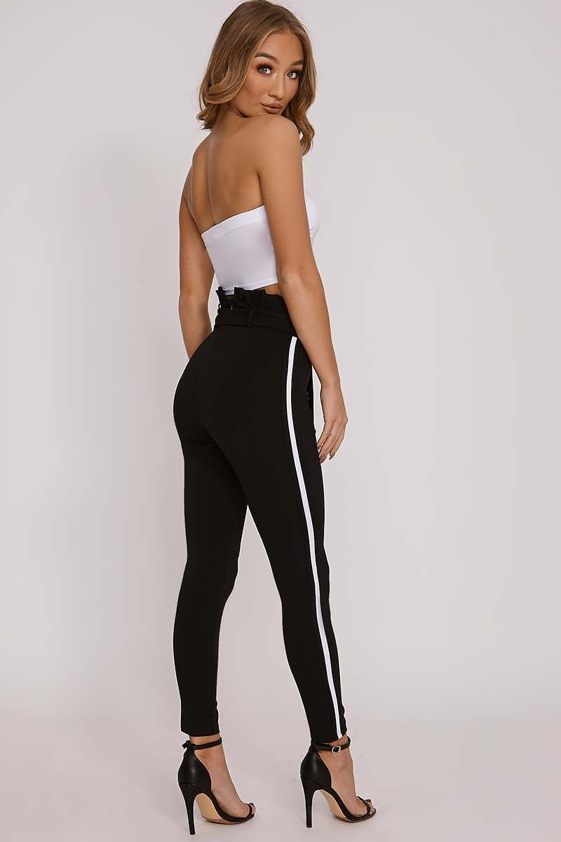 black sports stripe paperbag trousers