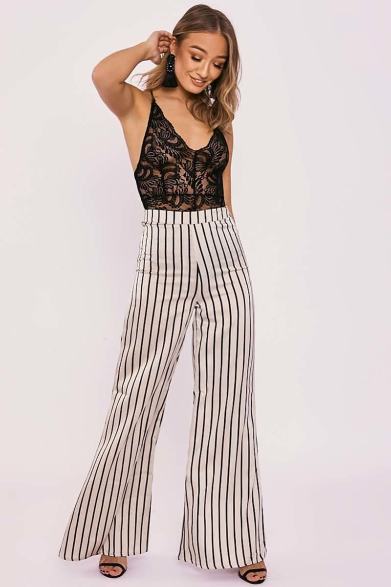 MAVEN CREAM STRIPE SATIN FLARED TROUSERS